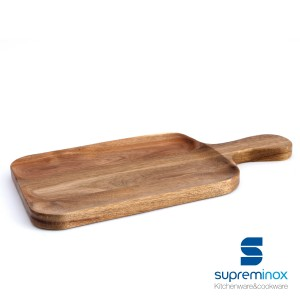 tablas de madera acacia rectangular con asa