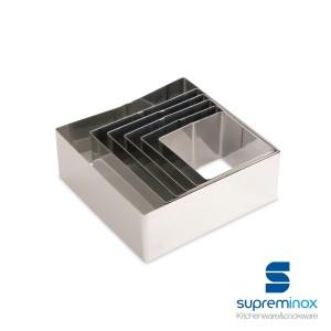set de aros cuadrados inox para emplatar - pack 6 u.