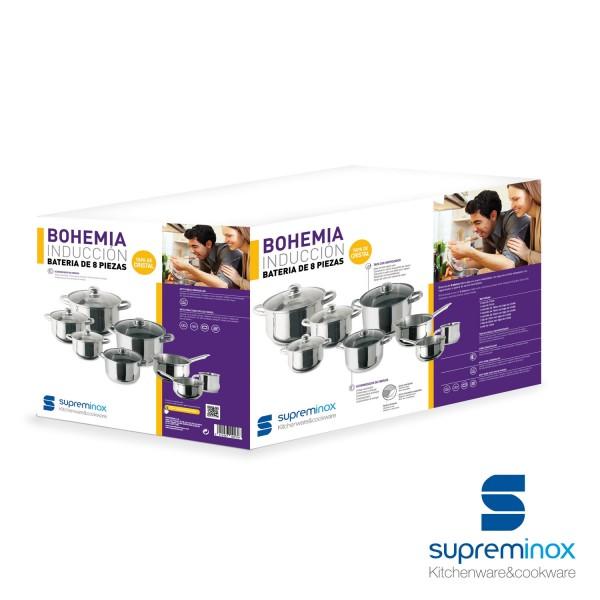 Batería de Cocina Línea Bohemia Inducción - tapa cristal