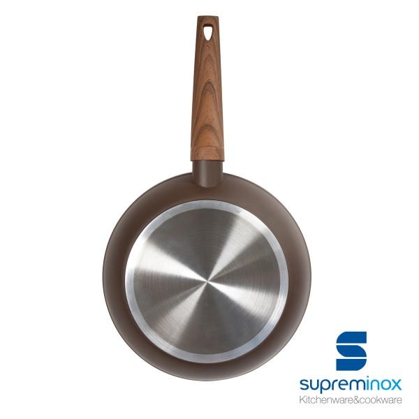 sartén aluminio inducción 4 mm. mango madera - línea myneralia