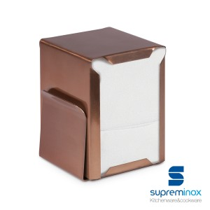 napkin holder with menu holder copper