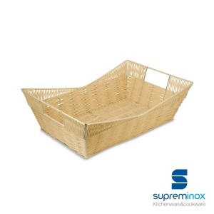 poly-rattan basket with handles