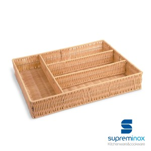 wicker cutlery tray 4 compartments natural