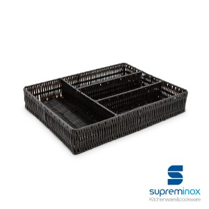 poly-rattan cutlery tray 4 compartments black