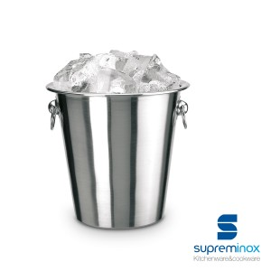 stainless steel ice-cube bucket with handles