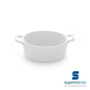 mini porcelain round casserole