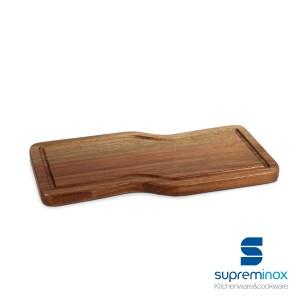 acacia wooden serving board asymmetric