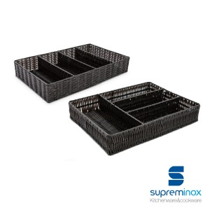 wicker cutlery tray 4 compartments black