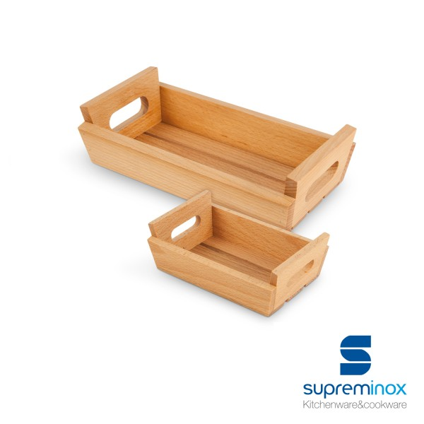 small wooden box with handles