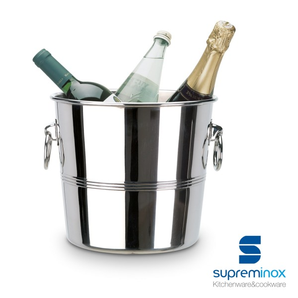 wine bottle cooler bucket stainless steel 18/10 design luxe