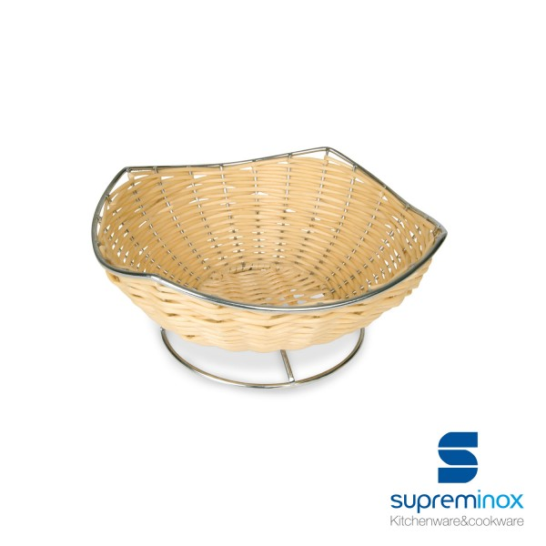 oval poly-rattan basket with steel base
