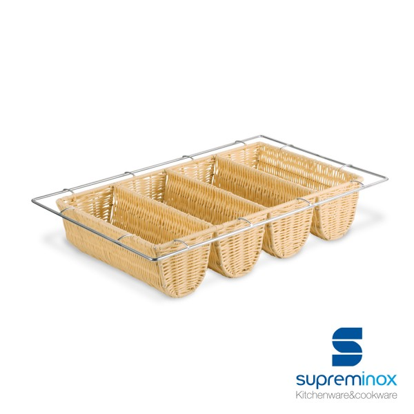 poly-rattan cutlery tray 4 compartments steel