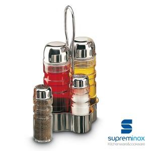 set pots à vinaigre en verre support inox 18/10 - 2 /4 pièces