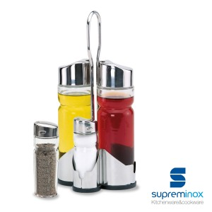 set pots à vinaigre en verre support inox - 2 /4 pièces