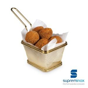 Basket chips cuadrada dorada. Tapas