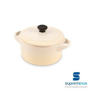 Mini cocotte de cerámica redonda beige