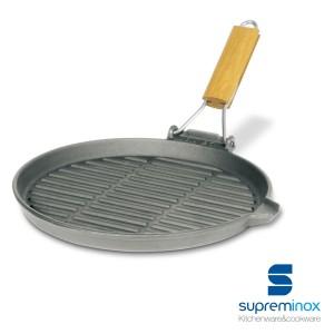 grill en fonte rond avec poignée rabattable