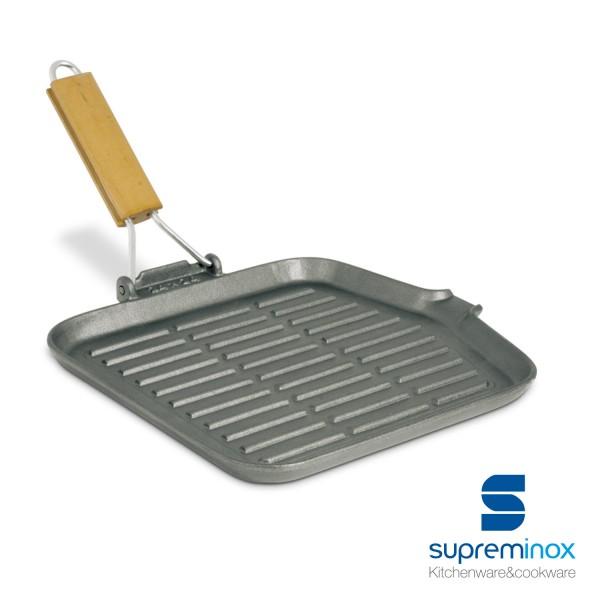 grill en fonte carré avec poignée rabattable