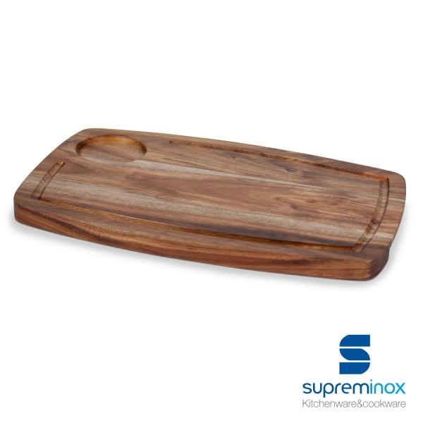 planches en bois d'acacia avec saucière