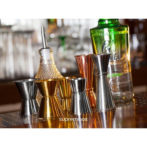 verre doseur cocktail doré luxe