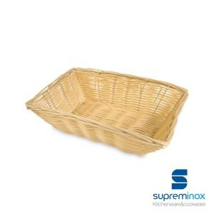 cestino poly-rattan rettangolare plastificato per pane