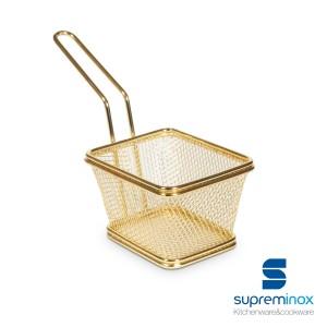 cestino quadrato da frittura dorato