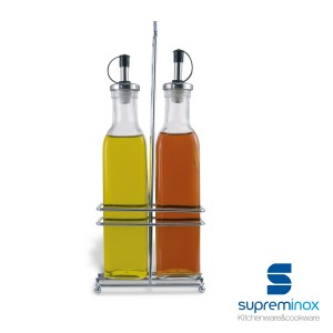 set bottiglie antigoccia olio & aceto 2 pezzi - 250/350 ml.