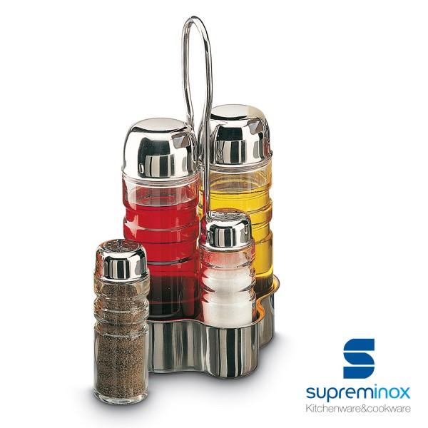 set per olio e aceto di vetro 2/4 pezzi con base acciaio inox 18/10