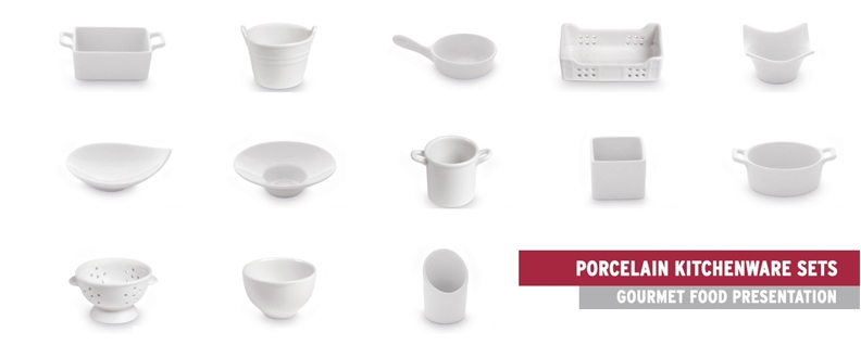 Mini Porcelain Plates and Bowls for Appetizers & Degustations